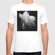 Black & While Lotus II White SMALL Mens Fitted Tee