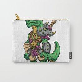 Lizard gladiator cartoon - dinosaur warrior illustration - tyrannosaurus character Carry-All Pouch