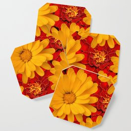 A Medley of Red and Yellow Marigolds Coaster