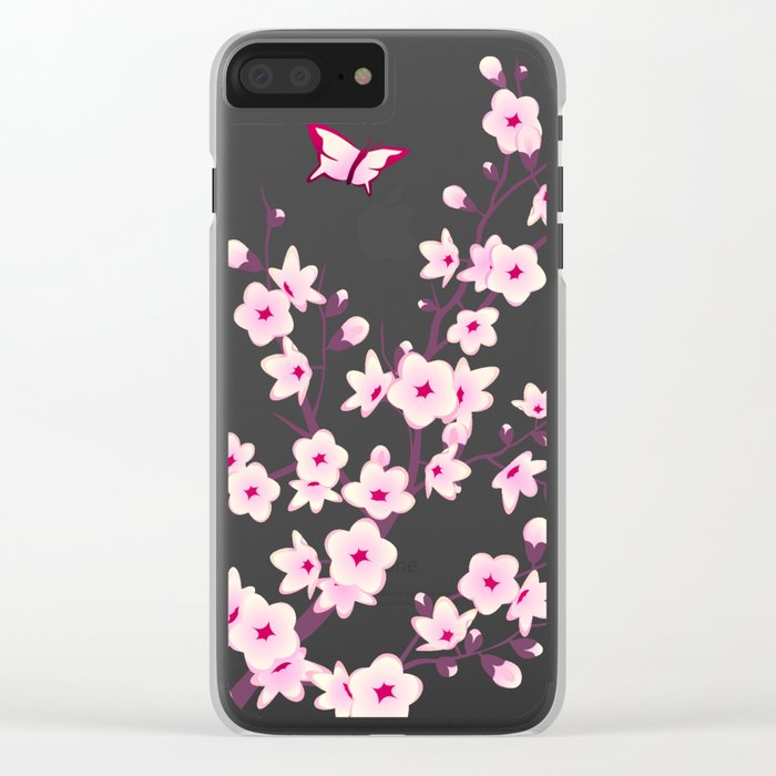 Cherry Blossoms Pink Black Clear iPhone Case