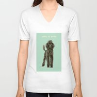 poodle V-neck T-shirts featuring Poodle by Katherine Coulton