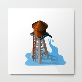 Water tower,Isolated on white background,Isometric view,Westen water tower Metal Print