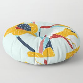 Mid Century spring flowers Floor Pillow