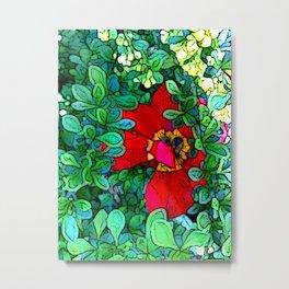 Shy Tulip Hiding Metal Print