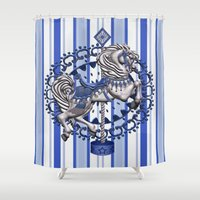 pony Shower Curtains featuring Pony Blue by The Victorian Fantasy