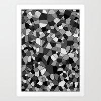 gray pattern Art Prints featuring Gray Monochrome Mosaic Pattern by Maggie B. Design