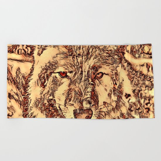Animal ArtStudio - amazing Wolf Beach Towel