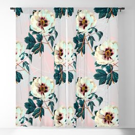 Flowery blooming with geometric Blackout Curtain