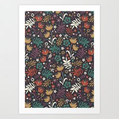 Midnight Florals Art Print