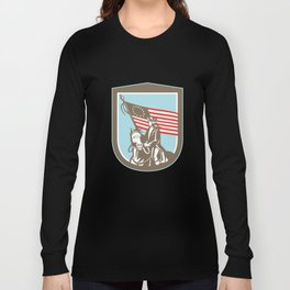 American Revoluntionary Serviceman Horse Flag Retro Long Sleeve T-shirt