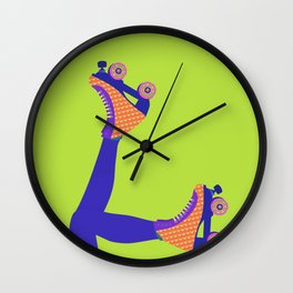 Roller Girl Skates Up - Green Wall Clock