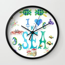 I Love the Sea Wall Clock