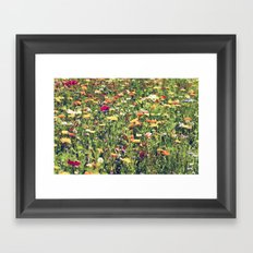 Happy summer meadow vintage style Framed Art Print