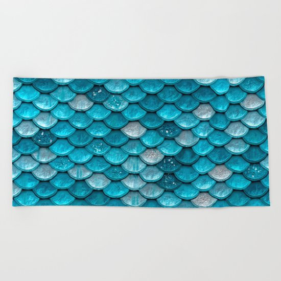 Luxury turquoise mermaid sparkling glitter scales- Mermaidscales Beach Towel
