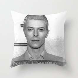 Bowie Mugshot Throw Pillow