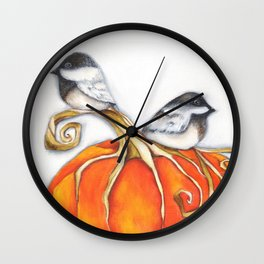 PUMPKIN CHICKADEE III Original Artwork Wall Clock