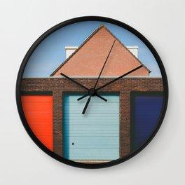 Colorful Garage doors in Amsterdam Wall Clock