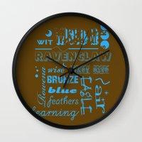 ravenclaw Wall Clocks featuring Ravenclaw by husavendaczek
