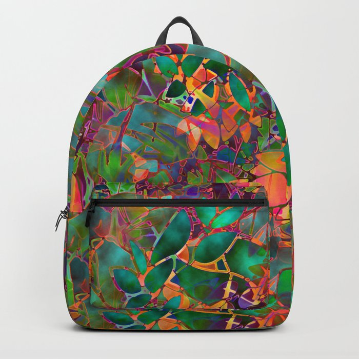 Floral Abstract Stained Glass G176 Backpack