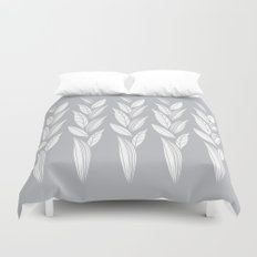 Growing Leaves: Silver Gray  Duvet Cover