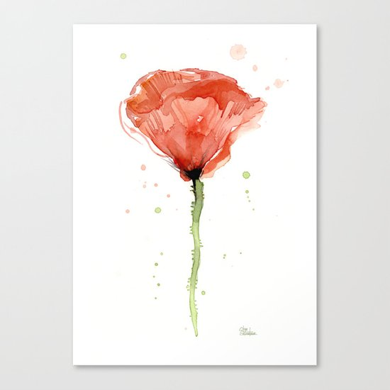 Poppy Watercolor Abstract Red Flower Canvas Print