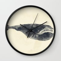 the whale Wall Clocks featuring Whale by Zach Terrell