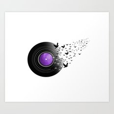 Doves Cry Record Art Print