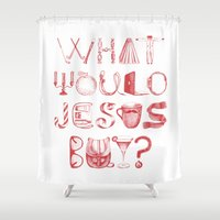 onesie Shower Curtains featuring What would Jesus buy? by Paper Rhino