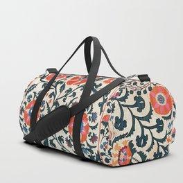 Shakhrisyabz Suzani  Uzbekistan Antique Floral Embroidery Print Duffle Bag