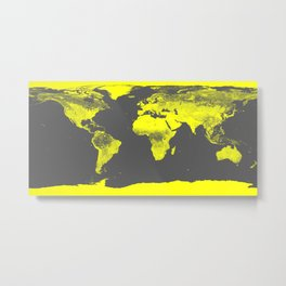 world map : Yellow & Gray Metal Print