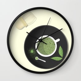 Matcha latte in the making Wall Clock