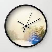 snow Wall Clocks featuring Snow by Olivia Joy StClaire