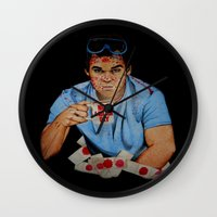 dexter Wall Clocks featuring Dexter by Lydia Dick