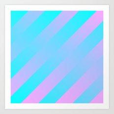 Stripes Diagonal Gradient Aqua & Pink Art Print
