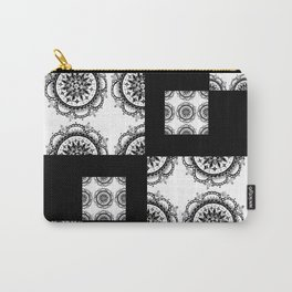 Black and White Rounded Mandala Patch Textile Carry-All Pouch