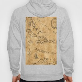 Old Nautical Map Carribeans Hoody