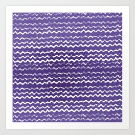 Abstract violet white watercolor geometrical chevron zigzag Art Print