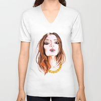 cigarette V-neck T-shirts featuring E Cigarette  by Liz Slome