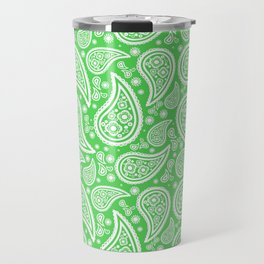 Paisley (White & Green Pattern) Travel Mug