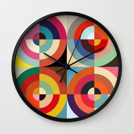 4 Seasons - Colorful Classic Abstract Minimal Retro 70s Style Graphic Design Wall Clock