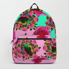 GREEN PEACOCK &  PINK ROSE GARDEN PINK PATTERN Backpack