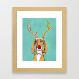George the Holiday Hound Framed Art Print