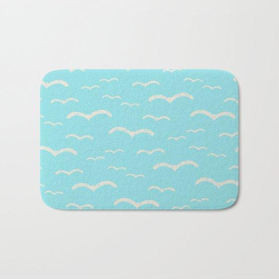 Beach Series Aqua- Sea Gulls Birds in the blue Sky Bath Mat