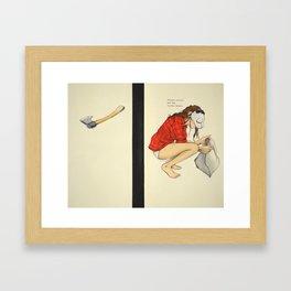 Masked Woman. Big Axe. Closed Casket. Framed Art Print