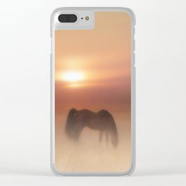 Horses in a misty dawn Clear iPhone Case