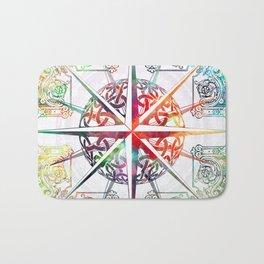 Travellers Spirit Colourful Celtic Travel Adventure Compass Design Bath Mat