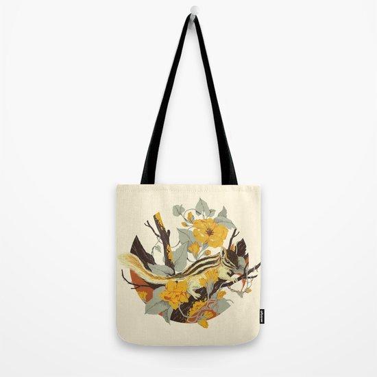 Chipmunk & Morning Glory Tote Bag
