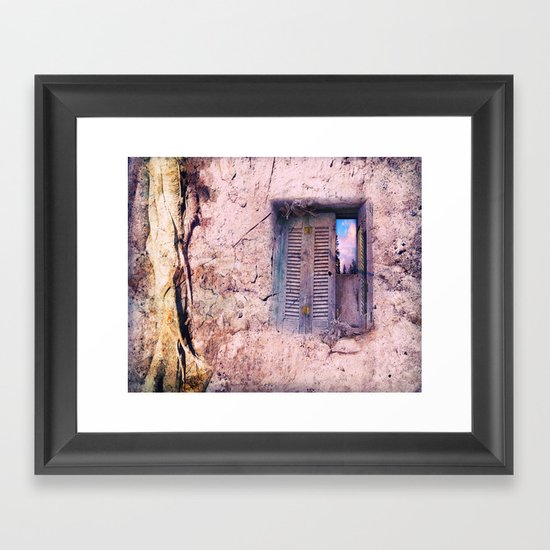 SOUL WINDOW - conceptual composing with old wall and open window Framed Art Print