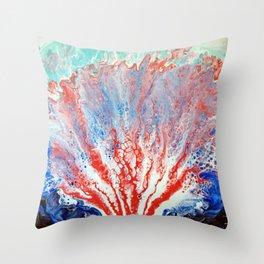 Sea Garden Ocean Coral Sea Creature with Blue and Aqua Seafoam Throw Pillow