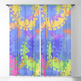 Texture of bright colorful gears and laurel wreaths in kaleidoscope style on a blue background. Sheer Curtain